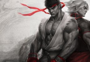 Обои Street Fighter, Ryu, Ken, Karate, art, fight, уличный боец, бойцы, каратэ