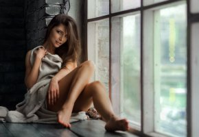 Обои tanne, brunette, legs, window, smile, beautifull, look, eye, perfect, pretty