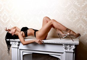 Обои brunette, tanned, high, heels, legs, ass, look, beautifull, perfect, pretty