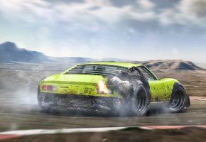 Обои Tuning, Rear, by Khyzyl Saleem, Green, Drifting, Miura, Future, Lamborghini