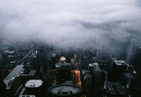 Обои Architecture, Landscape, Fog, Clouds, City, Scape, Chicago