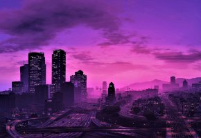 Обои GTA 5, city, sky, Grand Theft Auto V, game