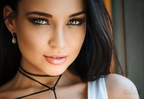 Обои green, eye, perfect, look, beautifull, face, smile, pretty, brunette
