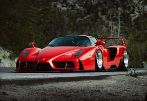 Обои Ferrari, Red, Enzo, Tuning, Future, Supercar, by Khyzyl Saleem