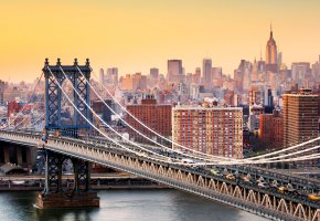 Обои Manhattan, Bridge, New York, город, мост